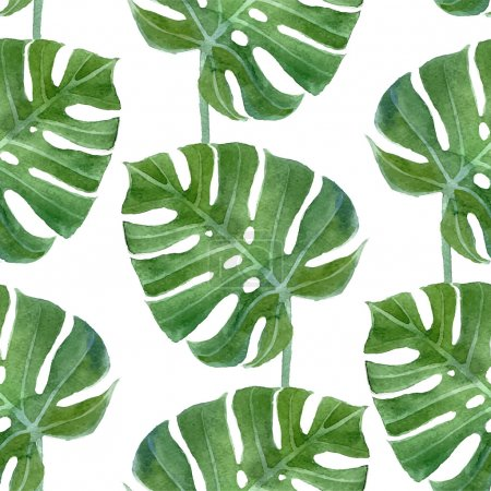 Illustration for Watercolor monstera leaf seamless pattern on white background - Royalty Free Image