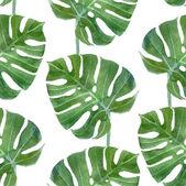 "Постер, картина, фотообои ""watercolor monstera leaf seamless pattern"""