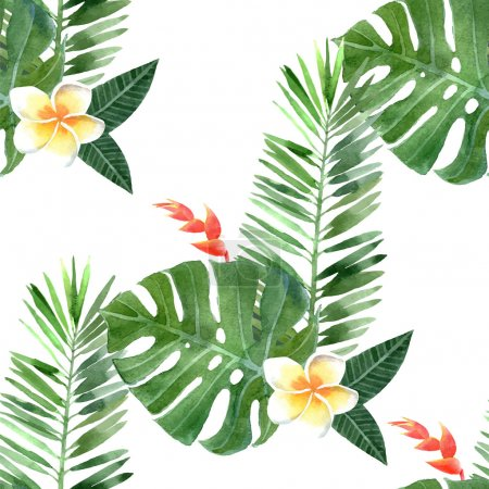 Illustration for Hand drawn watercolor tropical plants seamless - Royalty Free Image