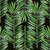 Watercolor palm tree leaf seamless pattern on black background