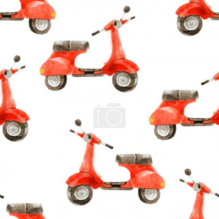 Watercolor seamless pattern with scooter