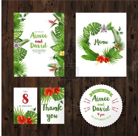 Illustration pour Cartes d'invitation de mariage avec des plantes tropicales et des fleurs - image libre de droit