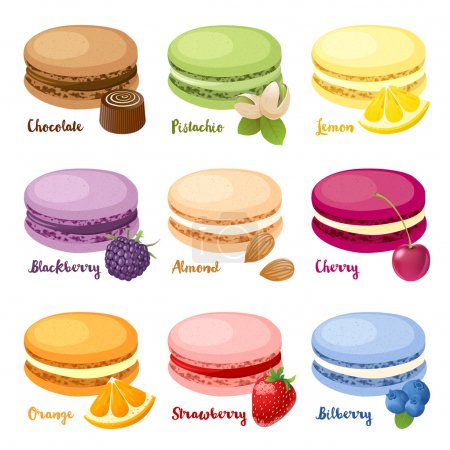 Set of 9 different taste macaroons...