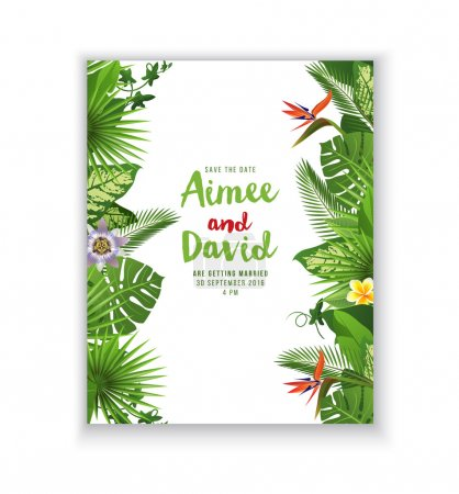 Save the date card in tropical style