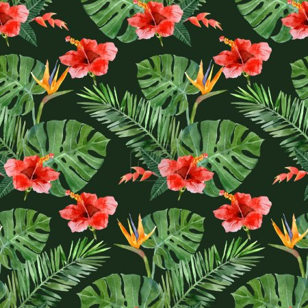 hand drawn tropical plants seamless