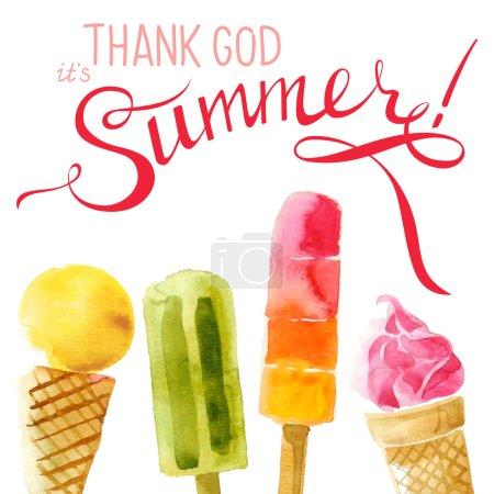 Watercolor ice cream with type design