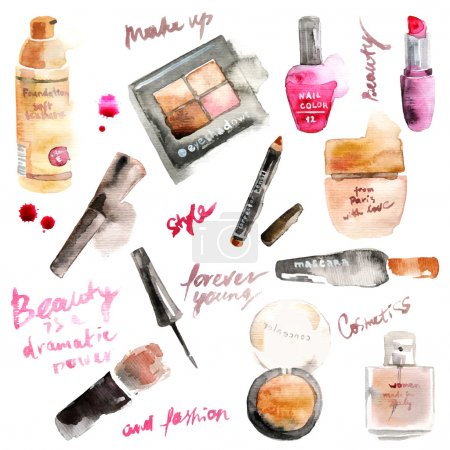 Illustration for Glamorous make up watercolor cosmetics - Royalty Free Image
