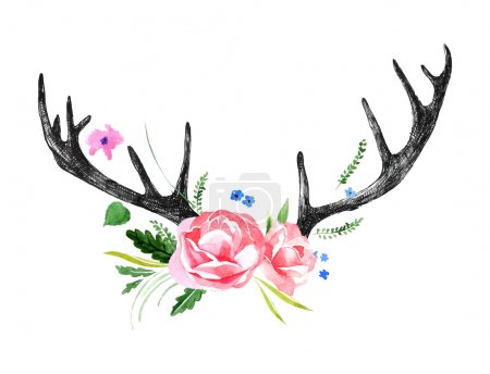 Illustration for Hand drawn deer horns with watercolor flowers - Royalty Free Image