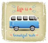 Summer time background with camper van in retro style