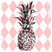 Pineapple on rhombus background