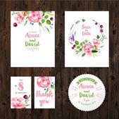 """Постер, картина, фотообои """"Свадебные открытки с акварельными цветами"""""""