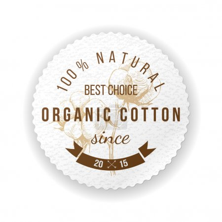 Illustration for Organic cotton round label with type design - Royalty Free Image
