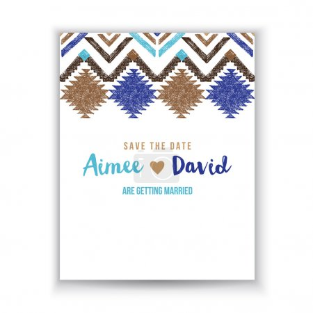 Save the date card with tribal ornaments