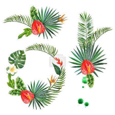 Illustration for Hand drawn watercolor tropical plants - easy to use in your designs - Royalty Free Image