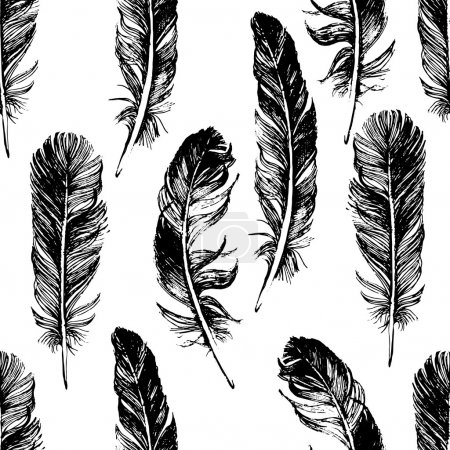 Illustration for Seamless pattern with hand drawn feathers - Royalty Free Image