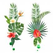 """Постер, картина, фотообои """"Акварель тропических растений для вашего дизайна"""""""