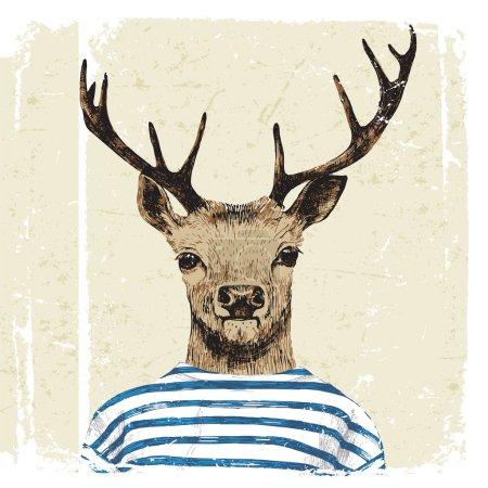 Illustration pour Cerf habillé à la main dans un style hipster - image libre de droit