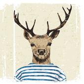 Ručně kreslenou oblečená jelen