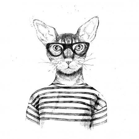 Illustration pour Dessinés à la main déguisé en chat hipster sur fond blanc - image libre de droit