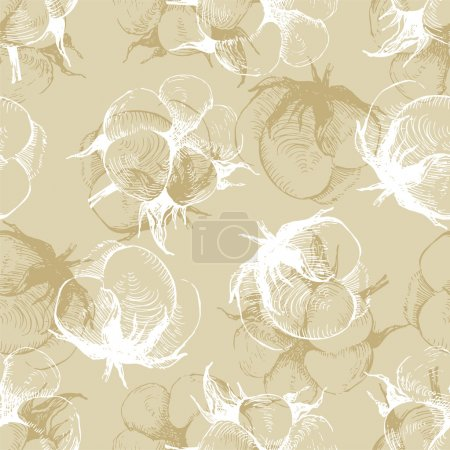 Illustration for Hand drawn cotton plant seamless pattern - Royalty Free Image
