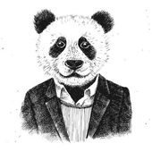 Hand drawn dressed up hipster panda on white background