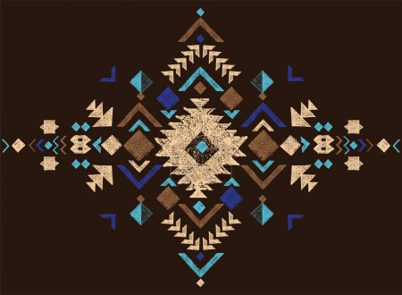 Illustration for Colorful hand drawn black and white tribal design element - Royalty Free Image