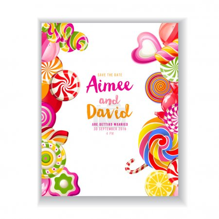 Save the date background with candies