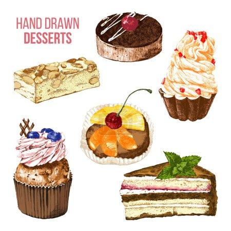 Illustration pour Set de 6 desserts colorés dessinés à la main - image libre de droit