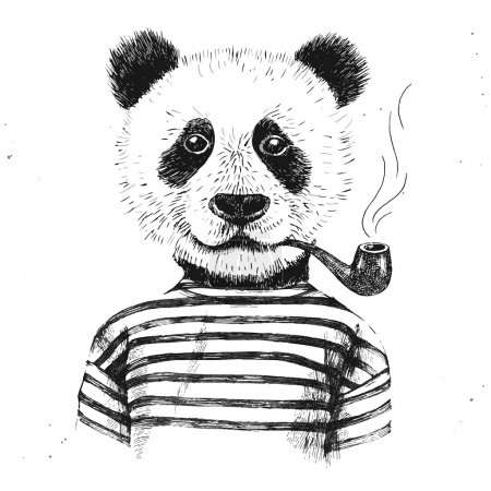 Illustration for Hand drawn Illustration of dressed up hipster panda with pipe - Royalty Free Image