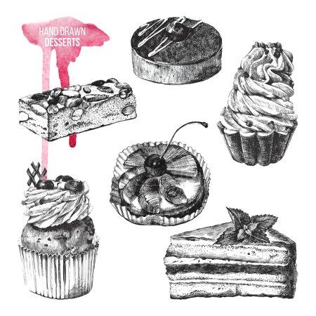 Illustration pour Lot de 6 desserts dessinés à la main en noir et blanc - image libre de droit