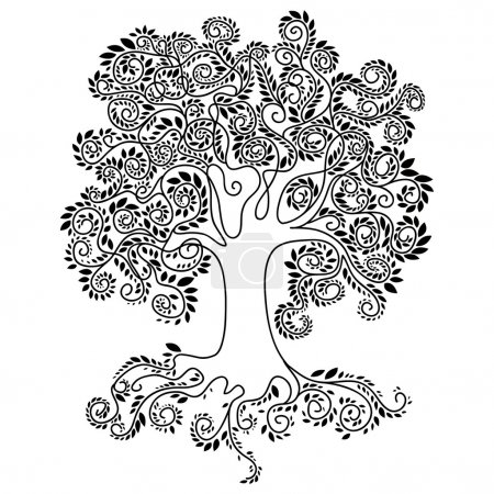 Large tree with a large crown consisting of small white leaves, roots, plants, tree silhouette, tree silhouette, black flowing lines on a white background