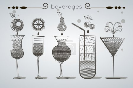 Set of glasses of different shapes with sodas and fruit cocktails silhouettes without color fill