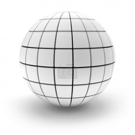 Blank sphere formed by blocks, 3d render