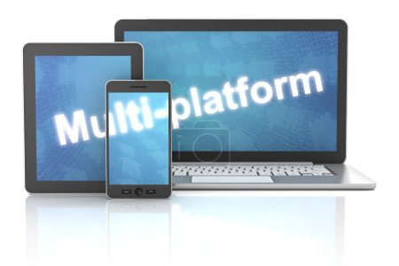 Smartphone, tablet and laptop with multi-platform word, 3d rende