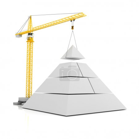 Crane and blank 3d pyramid with room for graphics