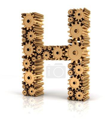 Buchstabe h gebildet durch Zahnräder