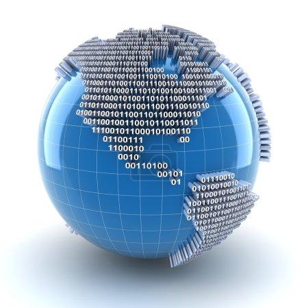 Photo pour Globes forme par code binaire, région Amérique, rendu 3d, fond blanc - image libre de droit
