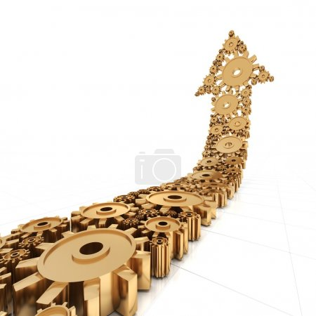 Photo for Arrow formed by golden metallic gears, 3d render, white background - Royalty Free Image