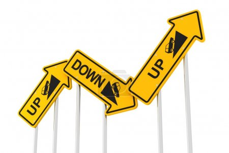Photo for Upward and downward road signs, 3d render, white background - Royalty Free Image