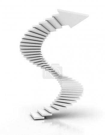 Photo for White spiral staircase arrow, 3d render, white background - Royalty Free Image