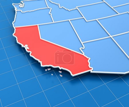 3d render of USA map with California state highlighted
