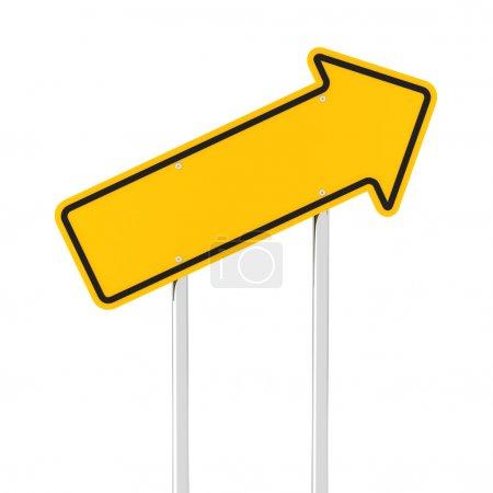 Photo pour Flèche montante panneau routier, rendu 3d, fond blanc - image libre de droit
