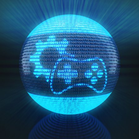 Photo for Gaming icon with gear on globe formed by binary code, 3d render - Royalty Free Image