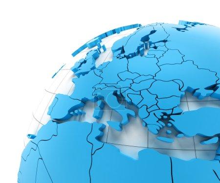 Globe de l'Europe avec les frontières nationales