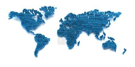 Foto de Render 3D de mapa del mundo formado por nombres de ciudades - Imagen libre de derechos
