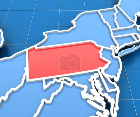 3d render of USA map with Pennsylvania state highlighted