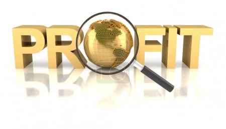 Profit word with golden globe and magnifying glass