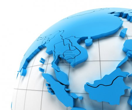 Photo for Globe of Southeast Asia with national borders, 3d render - Royalty Free Image