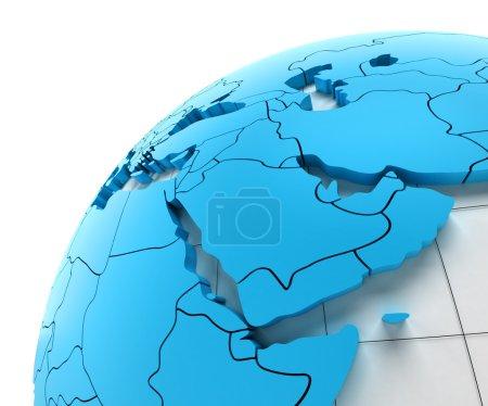 Photo pour Globe du Moyen-Orient avec les frontières nationales, 3d render - image libre de droit