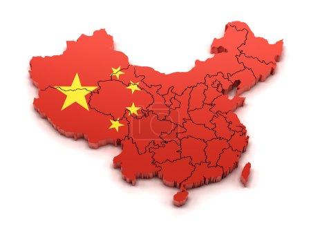 Photo pour Carte de la Chine avec les provinces et le drapeau national, rendu 3d - image libre de droit